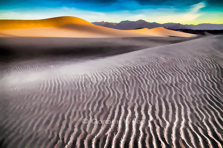 Mesquite Dunes and Grapevine Mountains at Sunrise, Death Valley, CA. Photograph with painterly effect applied.