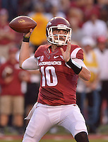 STAFF PHOTO BEN GOFF  @NWABenGoff -- 09/20/14 <br /> Arkansas quarterback Brandon Allen throws a pass during the second quarter of the game against Northern Illinois in Reynolds Razorback Stadium in Fayetteville on Saturday September 20, 2014.