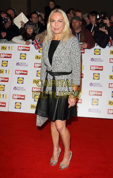 Jayne Torvill.The Pride of Britain Awards 2012, Grosvenor House Hotel, Park Lane, London, England..October 29th, 2012.full length black skirt grey gray jacket dress belted .CAP/ROS.©Steve Ross/Capital Pictures