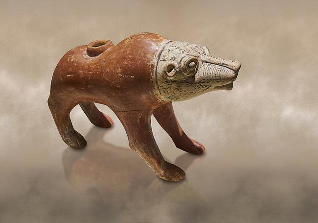 Bronze Age Anatolian terra cotta wolf shaped ritual vessel - 19th to 17th century BC - Kültepe Kanesh - Museum of Anatolian Civilisations, Ankara, Turkey.  Against a warn art background.