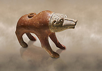 Bronze Age Anatolian terra cotta wolf shaped ritual vessel - 19th to 17th century BC - Kültepe Kanesh - Museum of Anatolian Civilisations, Ankara, Turkey.  Against a warn art background.