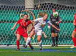 29 September 2013: Stony Brook University Seawolves Midfielder Caitlin Pfeiffer, a Senior from Holland, NY, battles University of Vermont Catamount Forward Bre Pletnick, a Junior from Levittown, PA, during game action at Virtue Field in Burlington, Vermont. The Lady Seawolves defeated the Catamounts 2-1 in America East play. Mandatory Credit: Ed Wolfstein Photo *** RAW (NEF) Image File Available ***