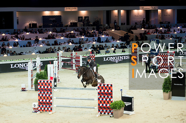Philippe Rozier on Unpulsion de la Hart competes during the Table A with Jump-off 145 - Airbus Trophy at the Longines Masters of Hong Kong on 20 February 2016 at the Asia World Expo in Hong Kong, China. Photo by Li Man Yuen / Power Sport Images