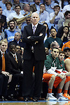 08 January 2014: Miami head coach Jim Larranaga. The University of North Carolina Tar Heels played the University of Miami Hurricanes in an NCAA Division I Men's basketball game at the Dean E. Smith Center in Chapel Hill, North Carolina. Miami won the game 63-57.