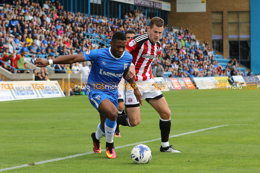 Gillingham's Ryan Jackson bursts into the Sheffield United penalty area during Gillingham vs Sheffield United, Sky Bet EFL League 1 Football at the MEMS Priestfield Stadium on 4th September 2016