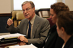 Nevada Sen. David Parks, D-Las Vegas, answers media questions at the Legislature, in Carson City, Nev., on Wednesday, March 30, 2011.  Sens. Sheila Leslie, D-Reno, and Valerie Wiener, D-Las Vegas are at right..Photo by Cathleen Allison