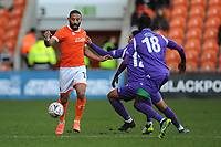Blackpool's Liam Feeney under pressure from Maidstone United's Noah Chesmain<br /> <br /> Photographer Kevin Barnes/CameraSport<br /> <br /> Emirates FA Cup Second Round - Blackpool v Maidstone United - Sunday 1st December 2019 - Bloomfield Road - Blackpool<br />  <br /> World Copyright © 2019 CameraSport. All rights reserved. 43 Linden Ave. Countesthorpe. Leicester. England. LE8 5PG - Tel: +44 (0) 116 277 4147 - admin@camerasport.com - www.camerasport.com