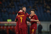 1st December 2017, Stadio Olimpico, Rome, Italy; Serie A football. AS Roma versus Spal;  Goal celebration from Lorenzo Pellegrini Roma with Edin Dzeko