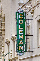 "The Coleman Theatre has been catching the eye of visitors on Route 66 since 1929. Built as a vaudeville theater and movie palace it hosted appearances by many early stars including Will Rogers, Bob Hope and Bing Crosby. The historic structure was donated to the city of Miami by the Coleman family in 1989. It has been restored to its original style including the return of the ""Mighty Wurlitzer"" pipe organ. Today, the theatre hosts ballets, theatre performances, receptions, conferences and silent movies."