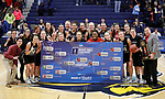 SIOUX FALLS, SD: MARCH 12:  The team from Central Missouri pose for a championship photo after winning against Augustana during the 2018 NCAA Division II Women's Basketball Central Region Championship Monday at the Elmen Center in Sioux Falls, S.D. (Photo by DIck Carlson/Inertia)