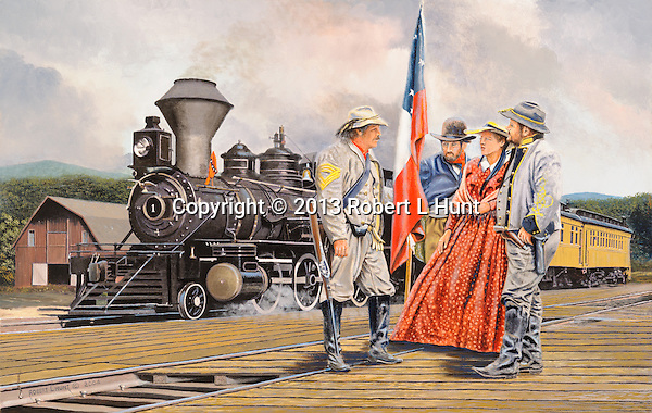 "Confederate cavalrymen and two civilians in July 1861 talk of rumors of Union troop movements toward their station at Manassas Junction, Virginia, on the Orange and Alexandria Railroad, with one of their locomotives and passenger trains in the background. Oil on canvas, 18"" x 28""."