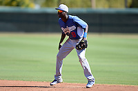 Los Angeles Dodgers second baseman Darnell Sweeney (9) during an Instructional League game against the Arizona Diamondbacks on October 8, 2013 at Camelback Ranch Complex in Glendale, Arizona.  (Mike Janes/Four Seam Images)