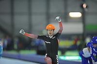 SCHAATSEN: GRONINGEN: Sportcentrum Kardinge, 18-01-2015, KPN NK Mass Start, winnaar Arjan Stroetinga (#1), ©foto Martin de Jong