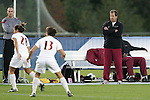 05 November 2008: Florida State head coach Mark Krikorian (right). Virginia Tech and Florida State University played to a 0-0 tie after two overtimes at Koka Booth Stadium at WakeMed Soccer Park in Cary, NC in a women's ACC tournament quarterfinal game.  Virginia Tech advanced to the semifinal round in penalty kicks, 4-2.