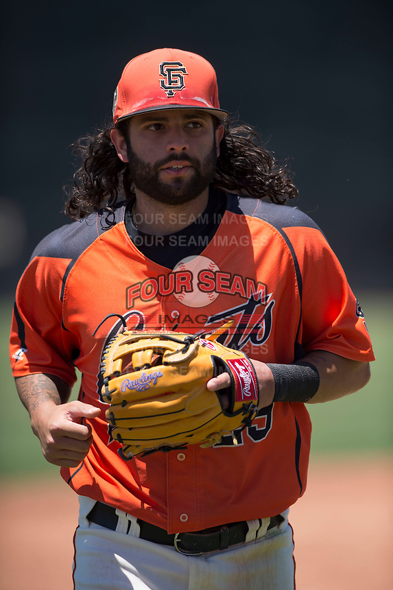 San Francisco Giants Orange shortstop CJ Hinojosa (29) jogs off the field in a rehab appearance during an Extended Spring Training game against the Seattle Mariners at the San Francisco Giants Training Complex on May 28, 2018 in Scottsdale, Arizona. (Zachary Lucy/Four Seam Images)
