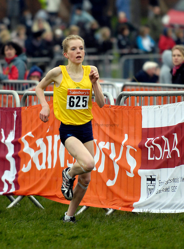 Photo: Jed Wee/Richard Lane Photography..Sainsbury's English Schools Cross Country. 24/03/2007...Junior girls bronze medalist Camilla Freeman.