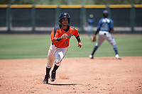 San Francisco Giants Orange shortstop Anyesber Sivira (32) hustles towards third base during an Extended Spring Training game against the Seattle Mariners at the San Francisco Giants Training Complex on May 28, 2018 in Scottsdale, Arizona. (Zachary Lucy/Four Seam Images)