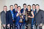 Kiskeam GAA members with the Premier Intermediate sup the Munster u21 Championship cup and the Duhallow B cup social in the Killarney Oaks Hotel on Saturday night l-r: DJ Linehan, Patrick O'Connor, Billy Dennehy, Diarmuid Fitzgerald Chairman, Anthony Casey, Noirin Herlihy, Michael Casey and John Angland
