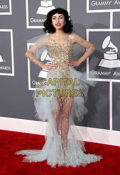 Kimbra (Kimbra Lee Johnson)  .The 55th Annual GRAMMY Awards held at STAPLES Center, Los Angeles, California, USA..February 10th, 2013.grammys full length white shirt blue tulle gold sequins sequined dress hands on hips sheer.CAP/ADM.©AdMedia/Capital Pictures.