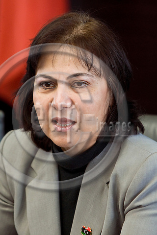 """BRUSSELS - BELGIUM - 29 March 2012 -- European Policy Centre (EPC) joint event in Palais d'Egmont - """"The Arab Spring one year after"""". -- Iman Bugaighis, Former Spokeswoman of the Libyan National Transitional Council. -- PHOTO: Juha ROININEN /  EUP-IMAGES"""