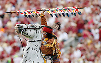 TALLAHASSEE, FL 10/31/09-FSU-NCST FB09 CH30-Florida State Mascot Chief Osceola, portrayed by Drake Anderson, celebrates a touchdown during the N.C. State game Saturday at Doak Campbell Stadium in Tallahassee. .COLIN HACKLEY PHOTO