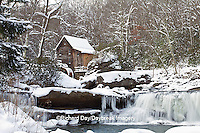 67395-04218 Glade Creek Grist Mill in winter, Babcock State Park, WV