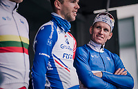 Arnaud D&eacute;mare (FRA/Groupama-FDJ) at team presentation pre-race<br /> <br /> 106th Scheldeprijs 2018 (1.HC)<br /> 1 Day Race: Terneuzen (NED) - Schoten (BEL)(200km)