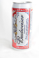 A Budweiser beer can over a white background
