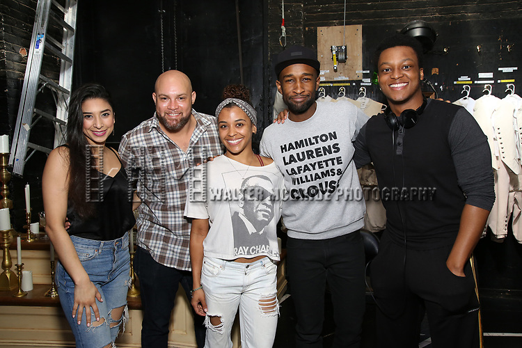 """Lauren Boyd, Gregory Treco, Sasha Hollinger, Donald Webber Jr., J. Quinton Johnson before The Rockefeller Foundation and The Gilder Lehrman Institute of American History sponsored High School student #EduHam matinee performance of """"Hamilton"""" at the Richard Rodgers Theatre on May 24, 2017 in New York City."""