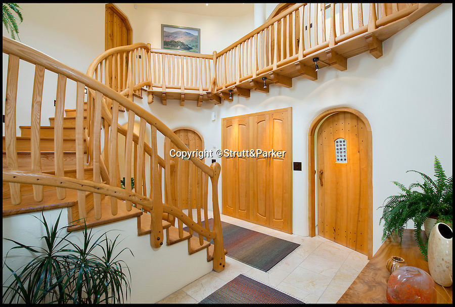 BNPS.co.uk (01202 558833)<br /> Pic: Strutt&Parker/BNPS<br /> <br /> ***Please use full byline***<br /> <br /> The hallway.<br /> <br /> A stunning country pad that looks like it could have been designed by Hobbit hero Bilbo Baggins has gone on the market for one million pounds.<br /> <br /> The wonderfully wacky house appears to blend in with its surroundings, just like the Lord of the Rings character's humble Hobbit hole.<br /> <br /> The plush five-bedroom property is nestled deep in the rolling hills of Wales' Snowdonia National Park - although it would not look out of place in Middle Earth.<br /> <br /> The house is called Cynefin, meaning 'a sense of place' in Welsh, and is in the tiny village of Llanegryn in Gwynedd wih unrivalled views over the Dysynni Valley.<br /> <br /> It is on the market through estate agents Strutt and Parker for £985,000.