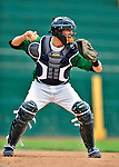 22 June 2009: Vermont Lake Monsters' catcher Daniel Killian warms up prior to facing the Tri-City ValleyCats at Historic Centennial Field in Burlington, Vermont. The Lake Monsters defeated the visiting ValleyCats 5-4 in extra innings. Mandatory Photo Credit: Ed Wolfstein Photo