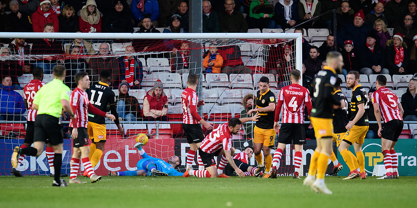 Newport County's Padraig Amond celebrates scoring his side's first goal<br /> <br /> Photographer Chris Vaughan/CameraSport<br /> <br /> The EFL Sky Bet League Two - Lincoln City v Newport County - Saturday 22nd December 201 - Sincil Bank - Lincoln<br /> <br /> World Copyright © 2018 CameraSport. All rights reserved. 43 Linden Ave. Countesthorpe. Leicester. England. LE8 5PG - Tel: +44 (0) 116 277 4147 - admin@camerasport.com - www.camerasport.com