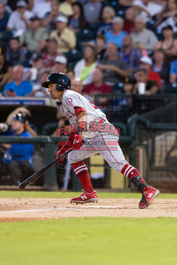 AFL East second baseman Jahmai Jones (9), of the Mesa Solar Sox and Los Angeles Angels organization, starts down the first base line during the Fall Stars game at Surprise Stadium on November 3, 2018 in Surprise, Arizona. The AFL West defeated the AFL East 7-6 . (Zachary Lucy/Four Seam Images)