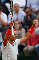 Lo spagnolo Rafael Nadal esulta durante gli Internazionali d'Italia di tennis a Roma, 16 Maggio 2013..Spain's Rafael Nadal celebrates during the Italian Open Tennis tournament ATP Master 1000 in Rome, 16 May 2013.UPDATE IMAGES PRESS/Isabella Bonotto