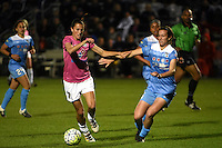 Kansas City, MO - Friday May 13, 2016: FC Kansas City midfielder Mandy Laddish (7) against Chicago Red Stars defender Casey Short (6) during a regular season National Women's Soccer League (NWSL) match at Swope Soccer Village. The match ended 0-0.