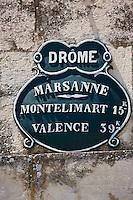 Europe/France/Rhône-Alpes/26/Drôme/ Marsanne:  Vieux Panneau routier