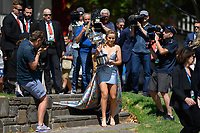 January 2, 2020: SOFIA KENIN (USA) poses for photographs beside the Yarra River with her trophy as the Women's Singles champion of the Australian Open 2020 in Melbourne, Australia. Photo Sydney Low