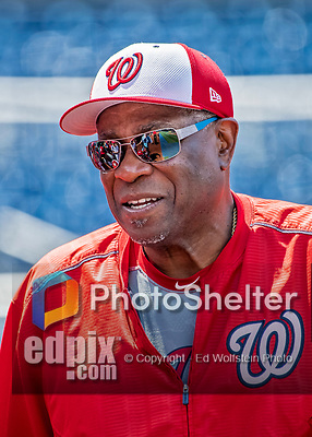 8 July 2017: Washington Nationals Manager Dusty Baker watches batting practice prior to a game against the Atlanta Braves at Nationals Park in Washington, DC. The Braves shut out the Nationals 13-0 to take the third game of their 4-game series. Mandatory Credit: Ed Wolfstein Photo *** RAW (NEF) Image File Available ***