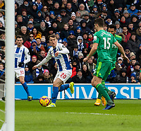 Brighton & Hove Albion's Solly March (left) under pressure from Watford <br /> <br /> Photographer David Horton/CameraSport<br /> <br /> The Premier League - Brighton and Hove Albion v Watford - Saturday 2nd February 2019 - The Amex Stadium - Brighton<br /> <br /> World Copyright © 2019 CameraSport. All rights reserved. 43 Linden Ave. Countesthorpe. Leicester. England. LE8 5PG - Tel: +44 (0) 116 277 4147 - admin@camerasport.com - www.camerasport.com