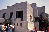 Frank Lloyd Wright: Ennis-Brown House, Los Angeles. Used textile block and Mayan influence. Tour  group.