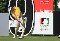 Gonzalo Fdez-Castano tees off on the 9th tee during Day 1 of the Dubai World Championship, Earth Course, Jumeirah Golf Estates, Dubai, 25th November 2010..(Picture Eoin Clarke/www.golffile.ie)