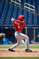 Washington Nationals Jeremy De La Rosa (8) at bat during an Instructional League game against the Miami Marlins on September 26, 2019 at FITTEAM Ballpark of The Palm Beaches in Palm Beach, Florida.  (Mike Janes/Four Seam Images)