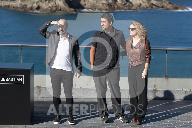 Javier Camara, Cesc Gay and Dolores Fonzi pose during the `Truman´ film presentation a 63rd Donostia Zinemaldia (San Sebastian International Film Festival) in San Sebastian, Spain. September 19, 2015. (ALTERPHOTOS/Victor Blanco)