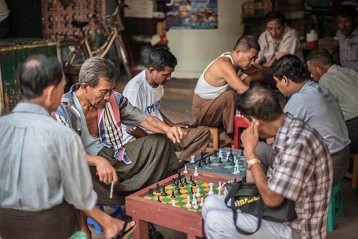 People playing chess on the street in Hpa An, Karen State (Kayin State), Myanmar (Burma)