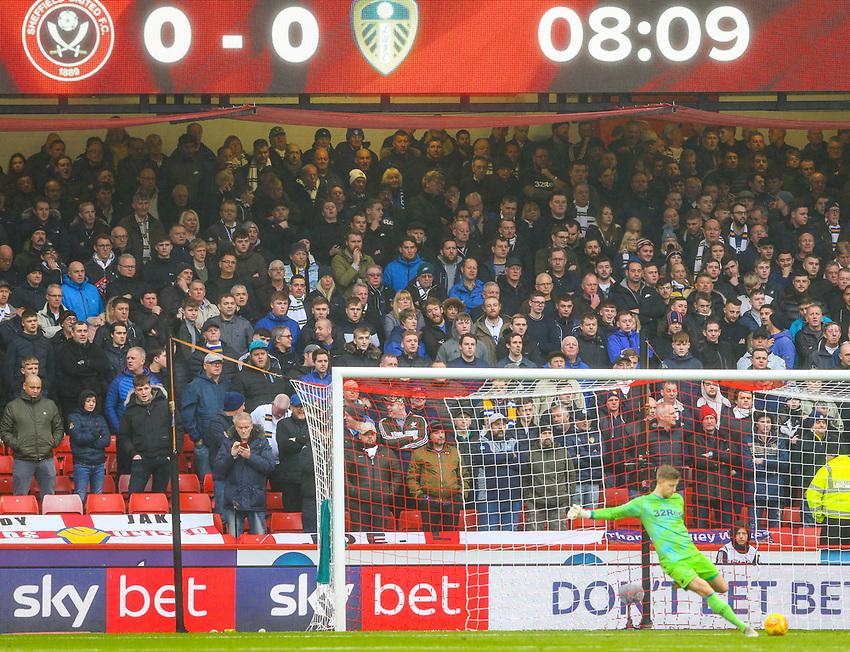 Leeds United fans watch on during the first half<br /> <br /> Photographer Alex Dodd/CameraSport<br /> <br /> The EFL Sky Bet Championship - Sheffield United v Leeds United - Saturday 1st December 2018 - Bramall Lane - Sheffield<br /> <br /> World Copyright © 2018 CameraSport. All rights reserved. 43 Linden Ave. Countesthorpe. Leicester. England. LE8 5PG - Tel: +44 (0) 116 277 4147 - admin@camerasport.com - www.camerasport.com
