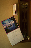 A calendar on the wall in the trailer where Betty Mungin, 55; Alexis Mungin, 29 and her unborn twins; and Armani Mungin, 8 were shot and killed in May 2016. Kenneth Lamar Ancrum, 23, faces 5 murder charges in their shooting deaths in RAVENEL, SC on Thursday, July 7, 2016. (Justin Cook)