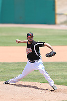 Ryan Ledbetter (17) of the High Desert Mavericks pitches during a game against the Bakersfield Blaze at Mavericks Stadium on May 18, 2015 in Adelanto, California. High Desert defeated Bakersfield, 7-6. (Larry Goren/Four Seam Images)
