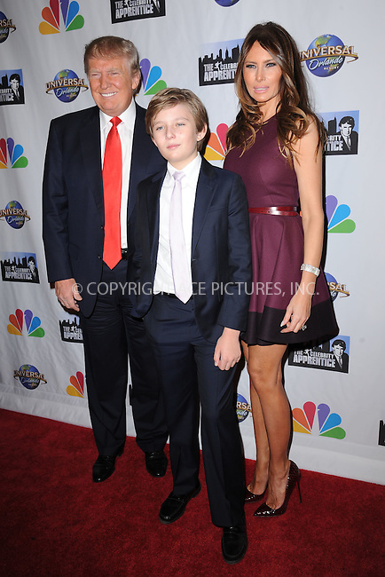 WWW.ACEPIXS.COM<br /> February 16, 2015 New York City<br /> <br /> Donald Trump, Melania Trump and Barron Trump arriving to the Celebrity Apprentice Finale viewing party and post show red carpet on February 16, 2015 in New York City.<br /> <br /> Please byline: Kristin Callahan/AcePictures<br /> <br /> ACEPIXS.COM<br /> <br /> Tel: (646) 769 0430<br /> e-mail: info@acepixs.com<br /> web: http://www.acepixs.com