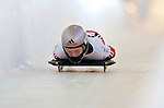 18 November 2005: Amy Williams of Great Britain slides down the track to take 13th place at the 2005 FIBT World Cup Women's Skeleton competition at the Verizon Sports Complex, in Lake Placid, NY. Mandatory Photo Credit: Ed Wolfstein.