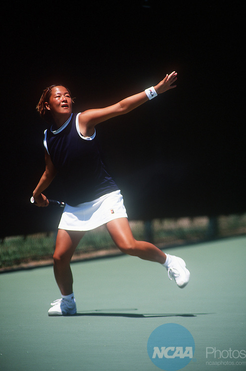 "15 MAY 2000:   Tomoko Sukegawa of BYU-Hawaii prepares to hit a forehand during the Division 2 Women's Tennis Championships held at the Ralph """"Skeeter"""" Carson Tennis Complex on the University of West Florida campus in Pensacola, FL.   BYU-Hawaii defeated Lynn University 5-0 for the championship title.  Gene Sowell/NCAA Photos"